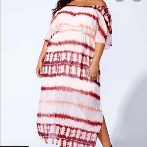 MBLM   1X  Tess Holiday Tie-dye Off-Shoulder Dress